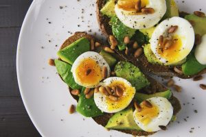 Plate of food with toast, avocado, eggs and nuts